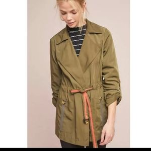 Anthropologie olive green trench coat